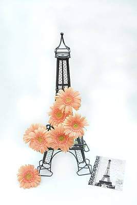 Eiffel Tower Peach Gerber Daisies Cottage Decor - Eiffel Tower Floral Daisies Still Life Decor Art Print by Kathy Fornal