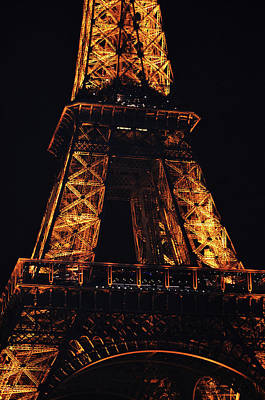 Photograph - Eiffel Tower Illuminated At Night First And Second Decks Paris France by Shawn O'Brien