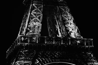 Photograph - Eiffel Tower Illuminated At Night First Floor Deck Paris France Black And White by Shawn O'Brien