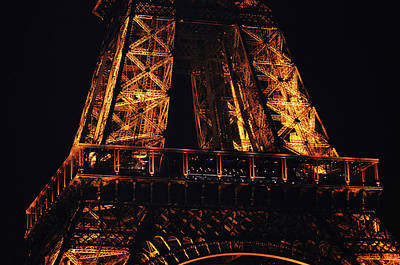 Photograph - Eiffel Tower Illuminated At Night First Floor Deck Paris France by Shawn O'Brien