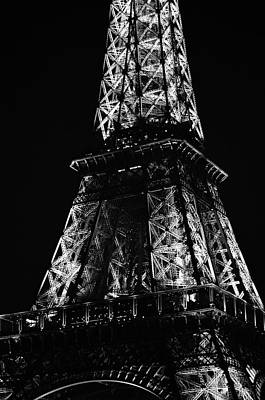 Photograph - Eiffel Tower Illuminated Midsection At Night Paris France Black And White by Shawn O'Brien