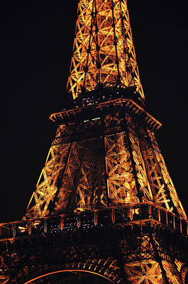 Photograph - Eiffel Tower Illuminated Midsection At Night Paris France by Shawn O'Brien