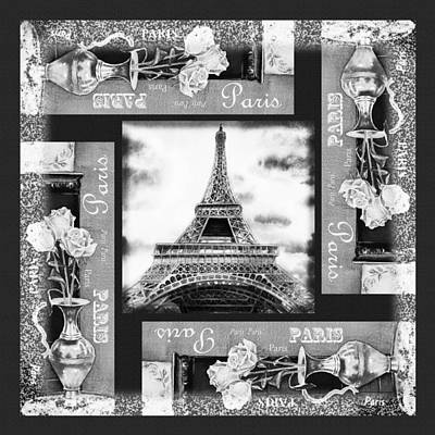 Painting - Eiffel Tower In Black And White Design I by Irina Sztukowski