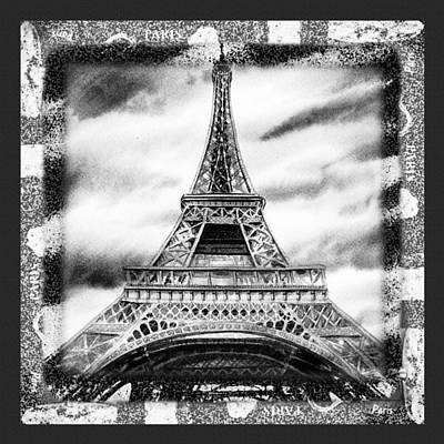 Painting - Eiffel Tower In Black And White Design II by Irina Sztukowski