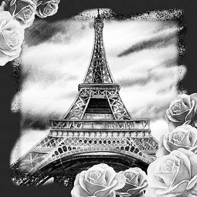 Painting - Eiffel Tower In Black And White Design IIi by Irina Sztukowski