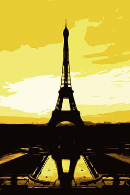 Eiffel Tower In Gold Print by Nilla Haluska