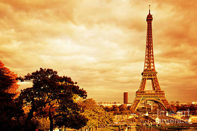Paris Skyline Royalty-Free and Rights-Managed Images - Eiffel Tower in Paris Vintage by Michal Bednarek