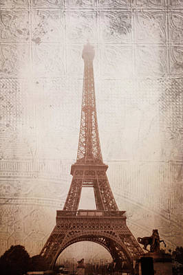 Art Print featuring the digital art Eiffel Tower In The Mist by Christina Lihani