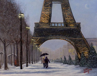 Painting - Eiffel Tower In The Snow by Dan Wagner