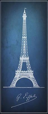 Eiffel Tower Minimal Blueprint Pinline Art Print