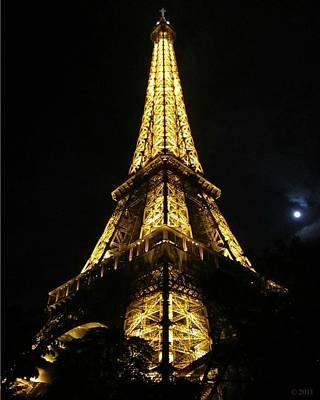 Photograph - Eiffel Tower Moon Paris France by John Shiron