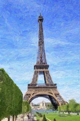 Photograph - Eiffel Tower- Painted Effect by Joe Myeress