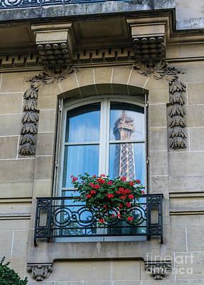 Photograph - Eiffel Tower Paris Apartment Reflection by Mike Reid