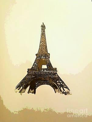 Metal Point Drawing - Eiffel Tower Paris France - Abstract  by Scott D Van Osdol