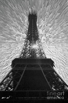 Photograph - Eiffel Tower Paris France Fine Art Photograph Black And White Landscape Print Home Decor Office Wall by Tim Hovde