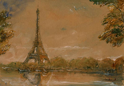 Eiffel Tower Paris Watercolor Print by Juan  Bosco