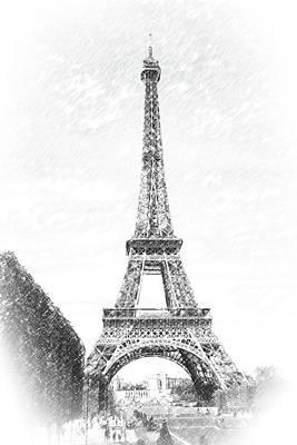 Photograph - Eiffel Tower- Pencil Sketch Effect by Joe Myeress