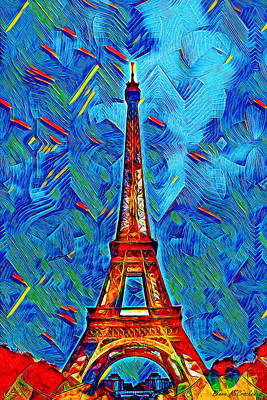 Digital Art - Eiffel Tower by Pennie McCracken