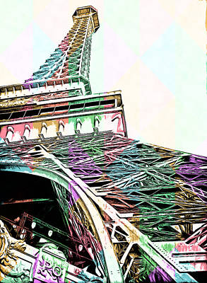 Europe Drawing - Eiffel Tower Rainbow by Edward Fielding