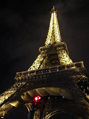 Photograph - Eiffel Tower Red Light Paris France by John Shiron