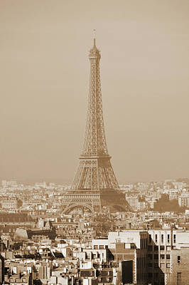 Photograph - Eiffel Tower Rising Above Central Paris France Rooftops Sepia by Shawn O'Brien