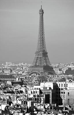 Photograph - Eiffel Tower Rising Above French Rooftops Paris France Black And White by Shawn O'Brien