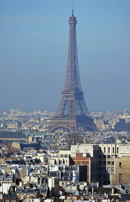 Photograph - Eiffel Tower Rising Above French Rooftops Paris France by Shawn O'Brien