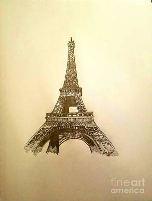 Rivets Drawing - Eiffel Tower  by Scott D Van Osdol