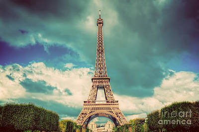 Photograph - Eiffel Tower Seen From Champ De Mars Park In Paris, France. Vintage by Michal Bednarek