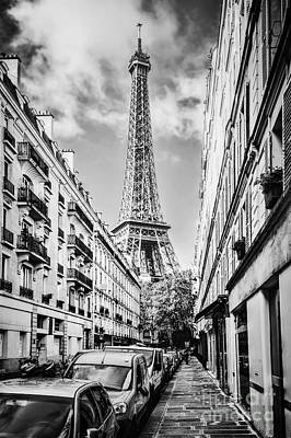 Photograph - Eiffel Tower Seen From The Street In Paris, France. Black And White by Michal Bednarek