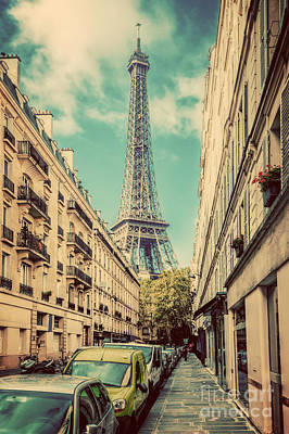 Photograph - Eiffel Tower Seen From The Street In Paris, France. Vintage by Michal Bednarek