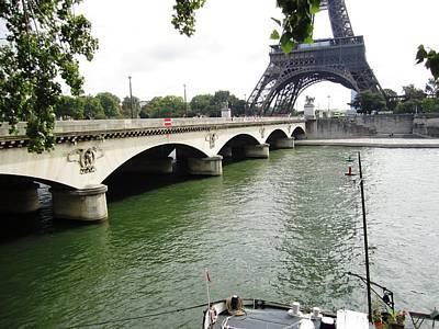 Photograph - Eiffel Tower Seine River II Paris France by John Shiron