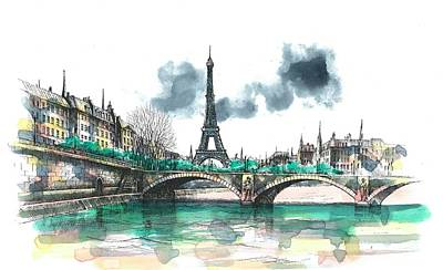 Paris Wall Art - Painting - Eiffel Tower by Seventh Son