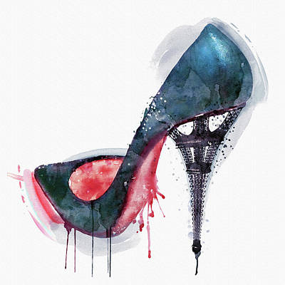 Stiletto Heel Mixed Media - Eiffel Tower Shoe by Marian Voicu