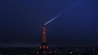 Photograph - Eiffel Tower Spotlight Paris France 2 by Lawrence S Richardson Jr
