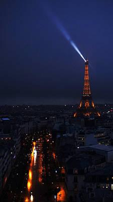 Photograph - Eiffel Tower Spotlight Paris France by Lawrence S Richardson Jr