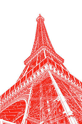 Digital Art - Eiffel Tower Sunlit Corner Perspective Paris France Red Stamp Digital Art by Shawn O'Brien