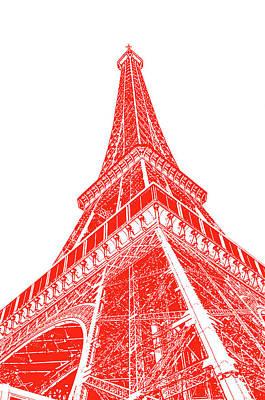 Digital Art - Eiffel Tower Sunlit Corner Perspective Paris France Red Stamp Digital Art by Shawn O'Brien