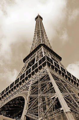 Photograph - Eiffel Tower Sunlit Corner Perspective Paris France Sepia by Shawn O'Brien