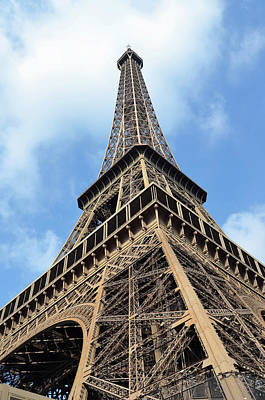 Photograph - Eiffel Tower Sunlit Corner Perspective Paris France by Shawn O'Brien