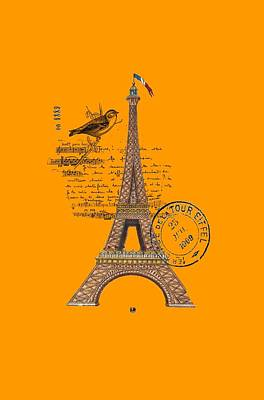 Digital Art - Eiffel Tower T Shirt Design by Bellesouth Studio