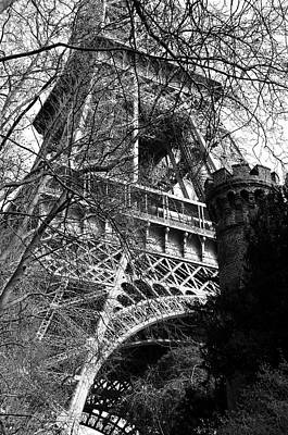 Photograph - Eiffel Tower Through A Maze Of Branches With Castle Topped Tower In Foreground Black And White by Shawn O'Brien