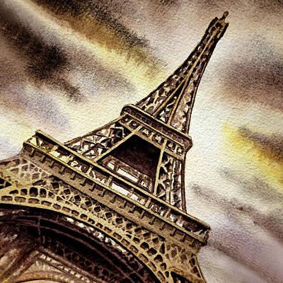 Painting - Eiffel Tower Vintage Beige by Irina Sztukowski