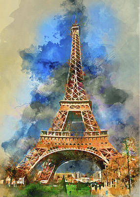 Digital Art - Eiffel Tower Watercolor 2 by Yury Malkov