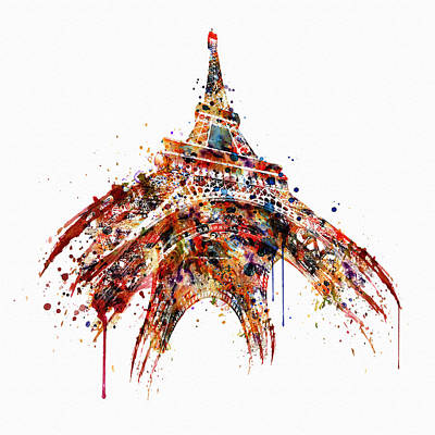 Eiffel Tower Watercolor Art Print by Marian Voicu