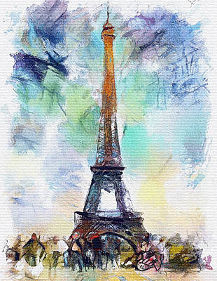 Digital Art - Eiffel Tower Watercolor by Yury Malkov