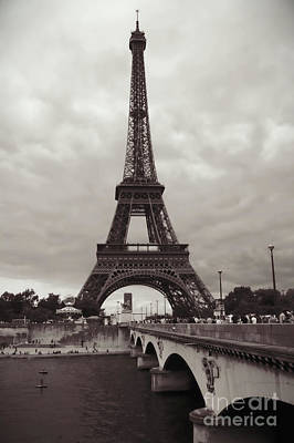 Photograph - Eiffel Tower With Bridge In Sepia by Carol Groenen
