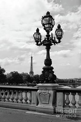 Photograph - Eiffel Tower With Ornate Lamp - Black And White by Carol Groenen