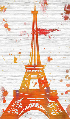 Painting - Eiffel Tower Wood Plank Splatter by Dan Sproul