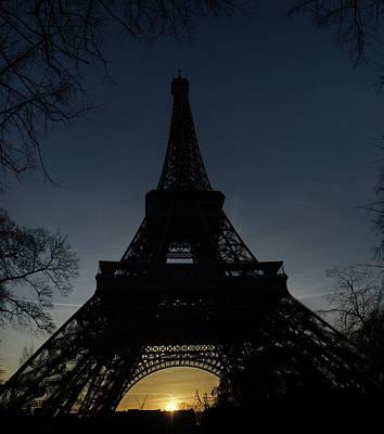 Eiffeltower At Sundown Art Print by Erik Tanghe